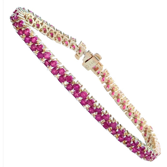 Two-Row 11.00 Carat Ruby Bracelet Yellow Gold
