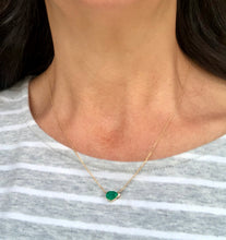 Load image into Gallery viewer, Pear Shape Colombian Emerald Solitaire Pendant Drop Necklace in 18K