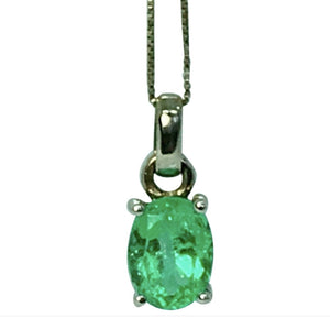 1.85 Carat Colombian Natural Green Oval Emerald Pendant 18 Karat White Gold