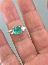 Load image into Gallery viewer, Natural Colombian Emerald and Diamond Engagement Ring Gold