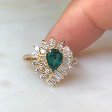 Load image into Gallery viewer, Estate Emerald and Diamond Cocktail Ring Gold
