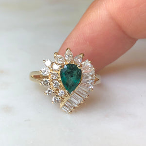 Estate Emerald and Diamond Cocktail Ring Gold
