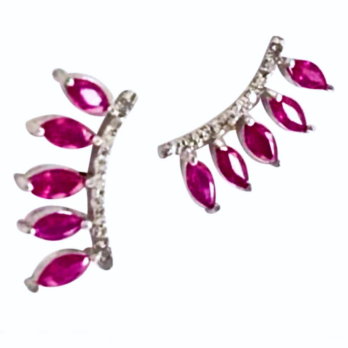 Ruby & Diamond Ear Cuff Climber Earrings 18K Gold