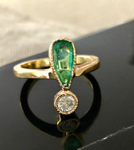 Load image into Gallery viewer, Antique Style Emerald and Diamond Ring Inspire on 1900's