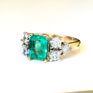 Natural 2.57 Carat Colombian Emerald Diamond Engagement Gold  Ring