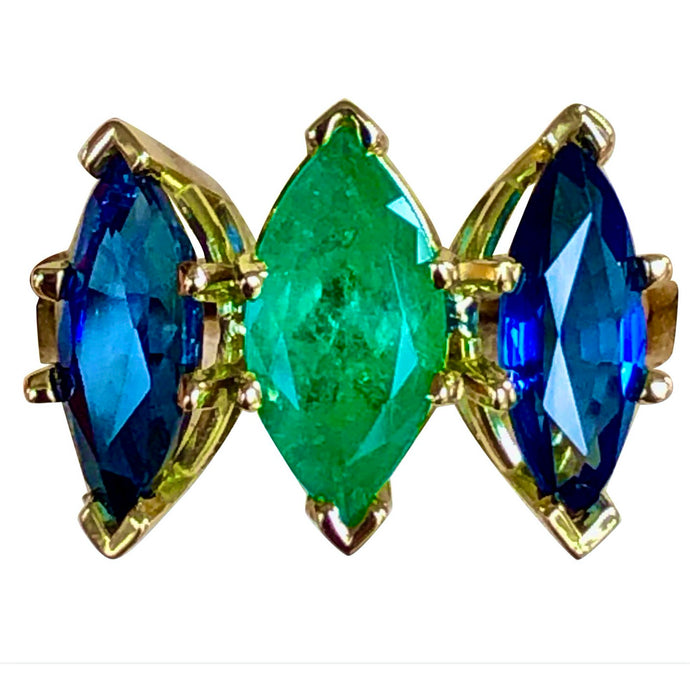 4.44 Carat Marquise Cut Ceylon Sapphire and Colombian Emerald Ring 18 Karat