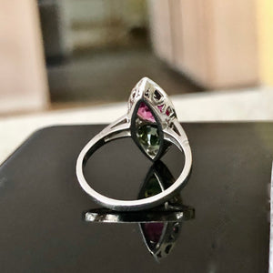 Ruby Sapphire Twin Platinum Ring Navette