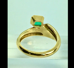 Estate Solitaire Ring Natural Colombian Emerald 18K