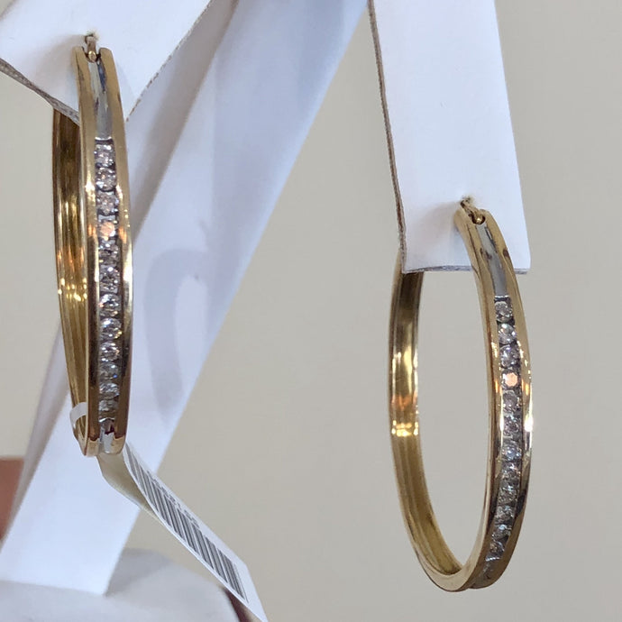 Diamonds and Yellow Gold 14 Karat Hoop Earrings