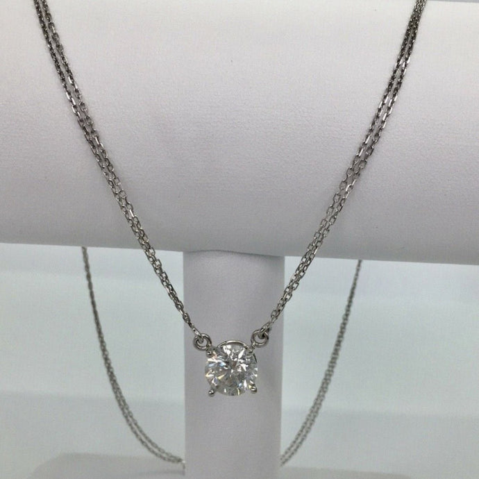 Big 3.1 Carat White Round Cut Diamond Pendant Necklace 18K