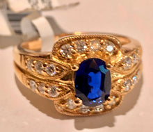 Load image into Gallery viewer, Royal Blue sapphire and Diamonds Ring 18 Karat Rose Gold
