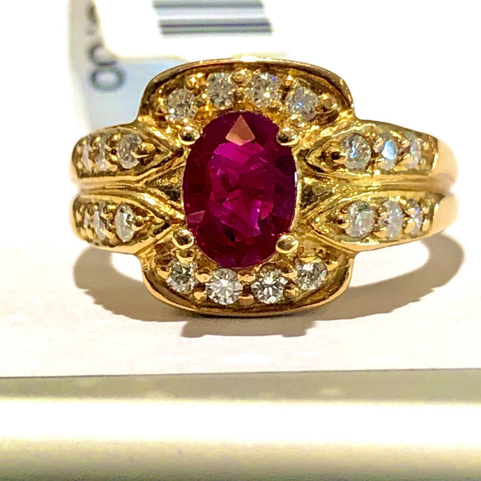 1.57 Carat Vivid Red Ruby and Diamonds Ring 18K Rose Gold