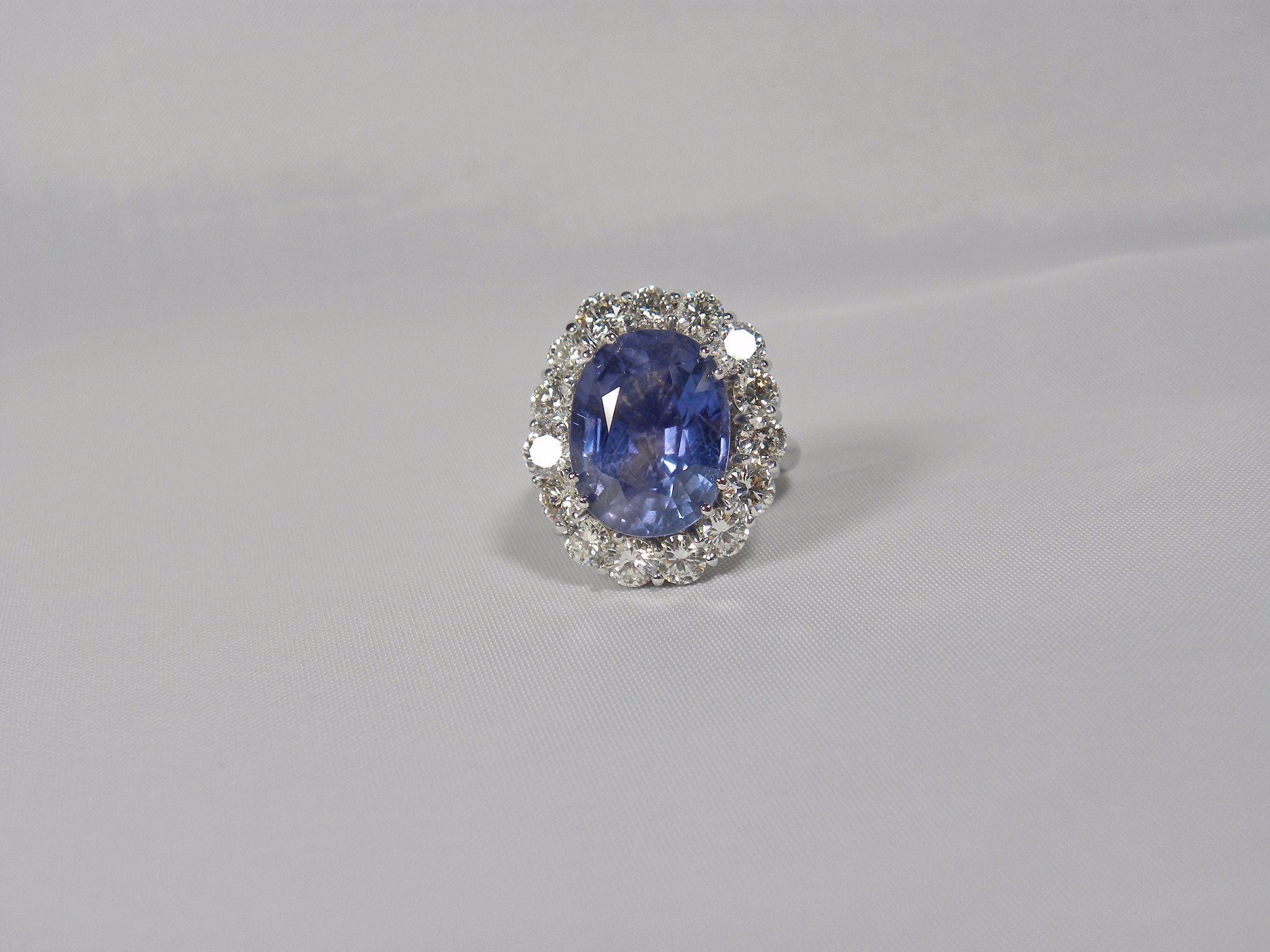 Gia Certified Untreated Blue Sapphire Diamond Ring 18k