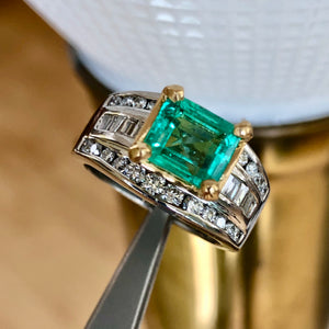 Natural 2.20 Carat Colombian Emerald Diamond Palladium and 18K Ring