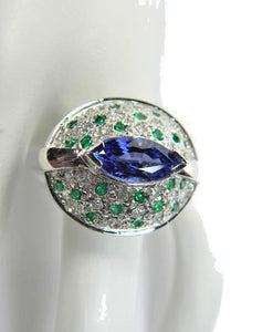 Tanzanite Emerald Diamond Contemporary Ring 18K White Gold