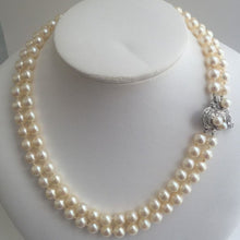Load image into Gallery viewer, Vintage Double Strand Akoya Pearl Necklace with Diamond 14k White Gold Clasp