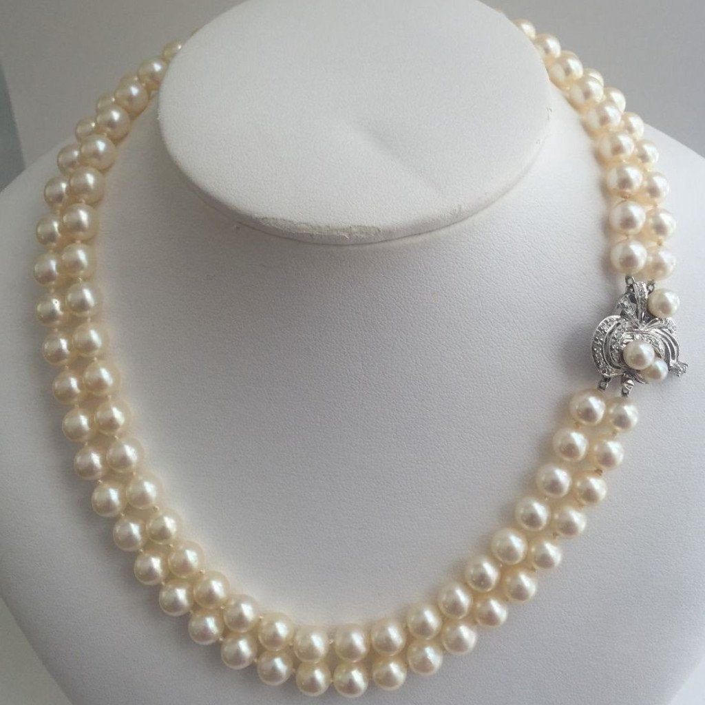 Vintage Double Strand Akoya Pearl Necklace with Diamond 14k White Gold Clasp