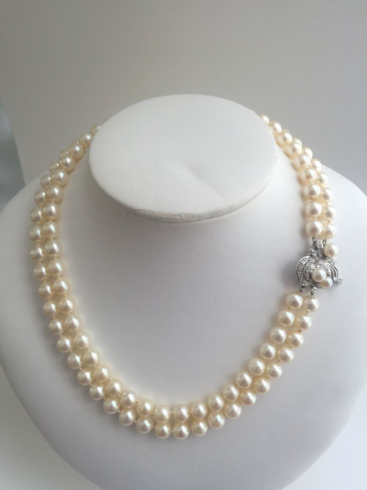 4b8093a1f1894 Vintage Double Strand Akoya Pearl Necklace with Diamond 14k White ...