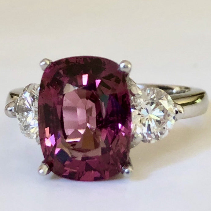 5.10 Carat Spinel and Diamond Three-Stone Platinum Ring