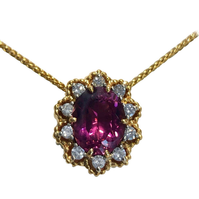 3.55 Carat Tourmaline Diamond Pendant Necklace 18 Karat Gold