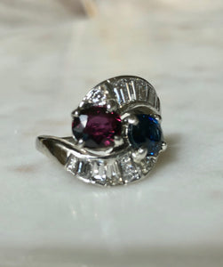 Vintage Ruby Sapphire Diamond Crossover Bypass Platinum Engagement Ring