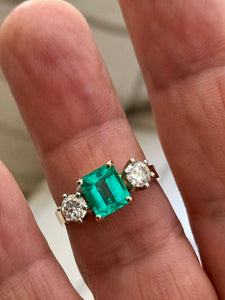 1.83 Carat Natural Colombian Emerald and Diamond Three-Stone Ring 18K