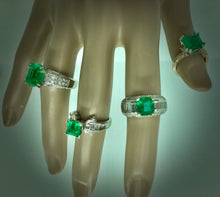 Load image into Gallery viewer, 2.80 carat Square Colombian Emeralds Diamond Estate Ring White Gold