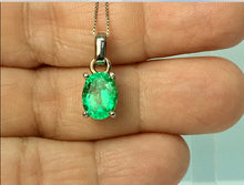 Load image into Gallery viewer, 1.85 Carat Colombian Natural Green Oval Emerald Pendant 18 Karat White Gold