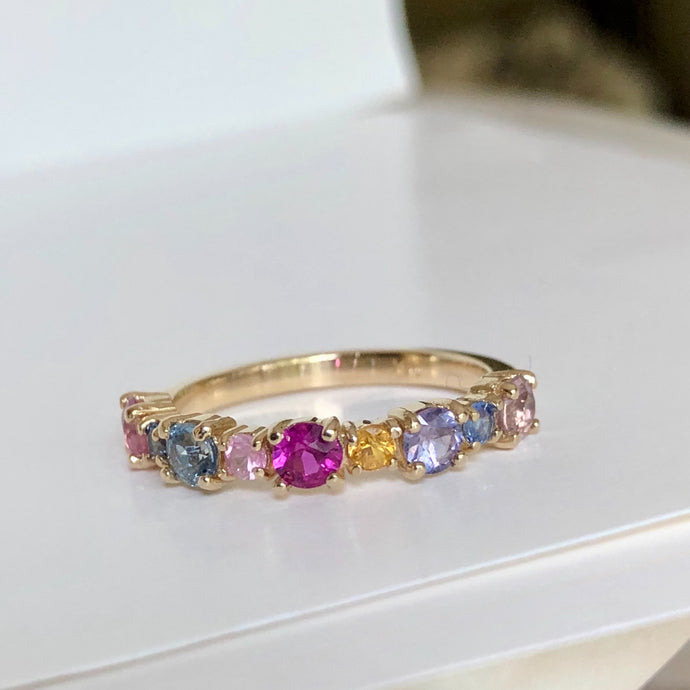 Multi-Color Sapphires Half Eternity Wedding Band Yellow Gold