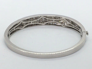 Diamond Baguette Hinged Cuff Bracelet 18K White Gold 36.3g