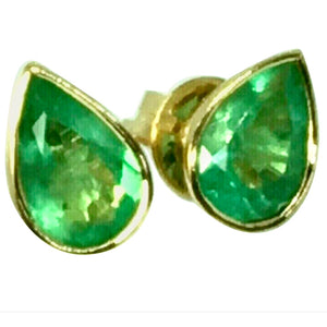 2.50 Carat Pear Cut Colombian Emerald Stud Earrings 18 Karat