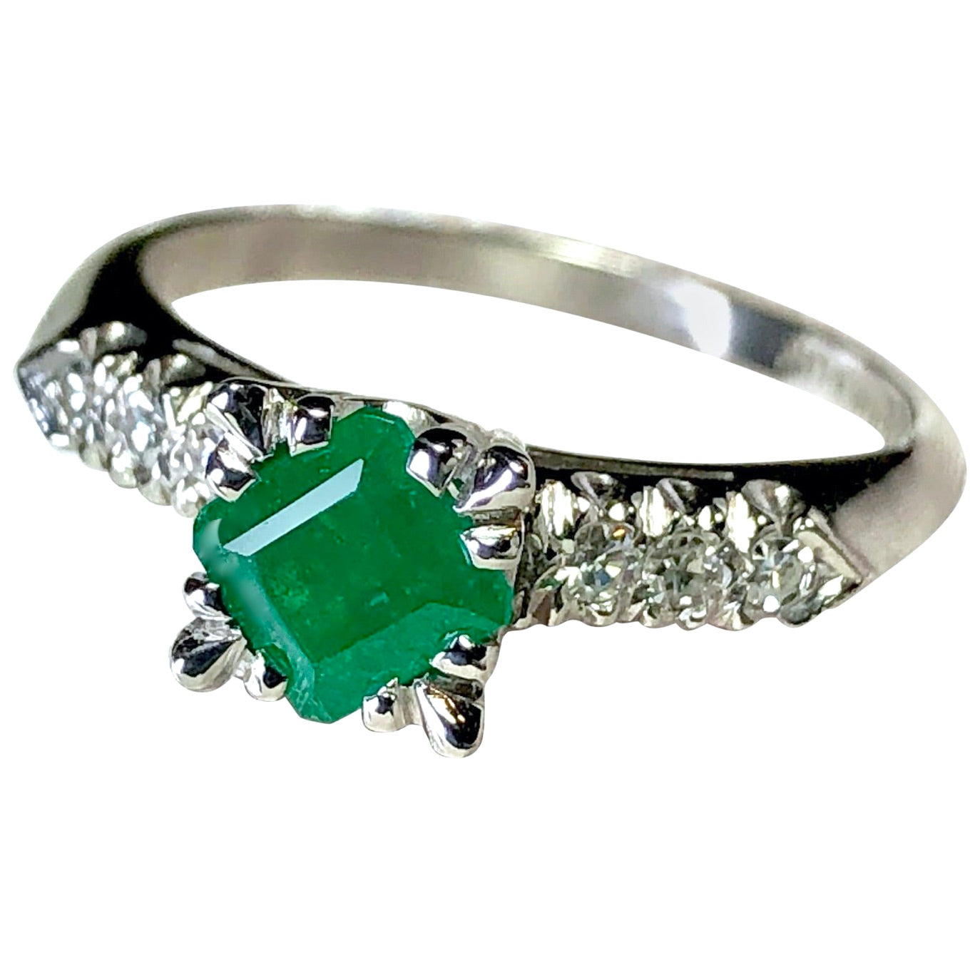 Vintage Colombian Emerald Engagement Ring Platinum