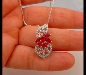Ruby and Diamond Floral Drop Pendant 18 Karat
