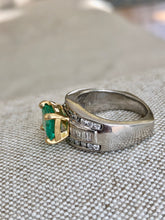Load image into Gallery viewer, Natural 2.20 Carat Colombian Emerald Diamond Palladium and 18K Ring