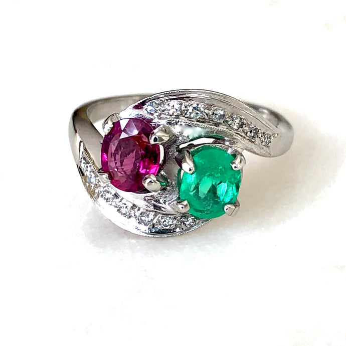 Antique Art Deco Emerald Ruby Diamond Platinum Engagement Ring