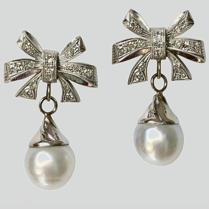South Sea Pearl Diamond Platinum and 18K Gold Drop Earrings