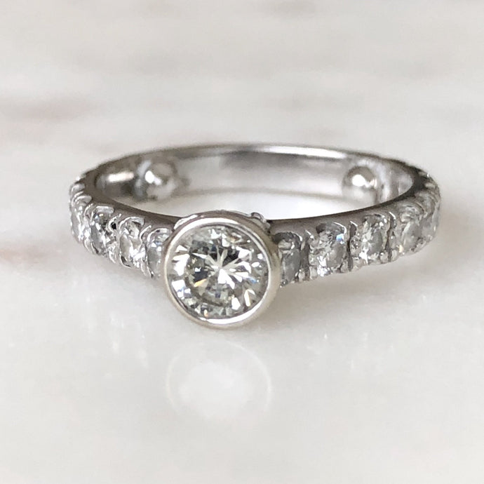 Engagement Diamond Ring with Diamond Accents 14KT White Gold