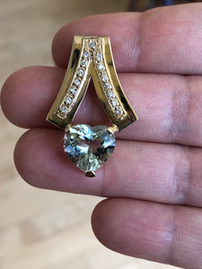 Estate 80s Mint Green Amethyst Diamond Pendant 18k Gold