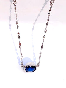 3.17 Carat Oval Shape Blue Sapphire and Diamond Solitaire Pendant Necklace