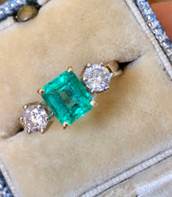 Load image into Gallery viewer, 1.83 Carat Natural Colombian Emerald and Diamond Three-Stone Ring 18K