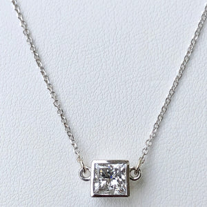 1.00 Carat Princess Cut Diamond Solitaire Pendant Necklace