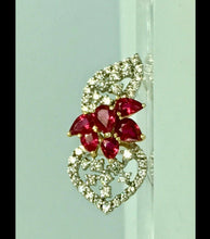 Load image into Gallery viewer, Ruby and Diamond Floral Drop Pendant 18 Karat