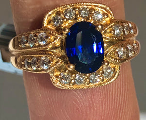Royal Blue sapphire and Diamonds Ring 18 Karat Rose Gold