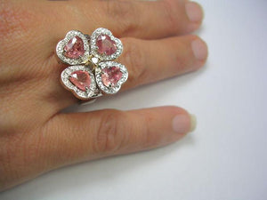 GIA Certified 6.20ct Padparadscha Sapphire & Diamond Ring Exquisite 18k White Gold