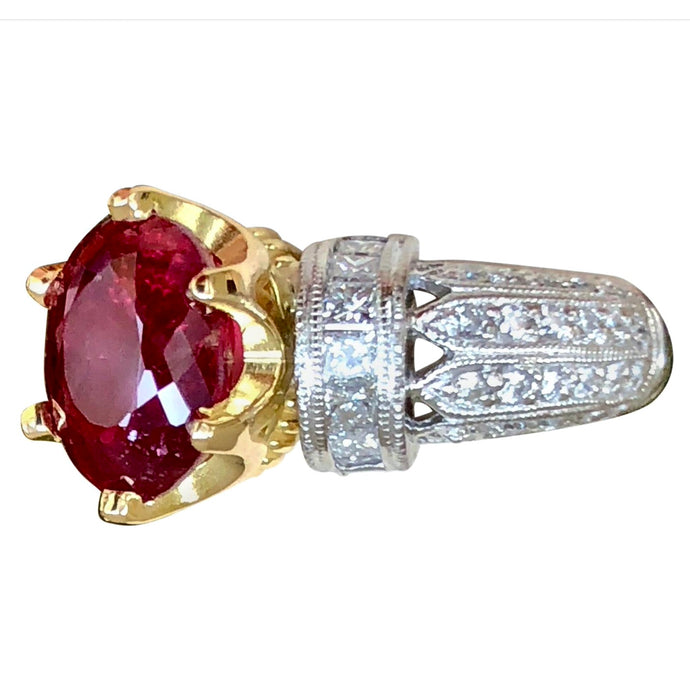 4.68 Carat Unheated Natural Red Ruby and Diamond Ring Platinum 18 Karat