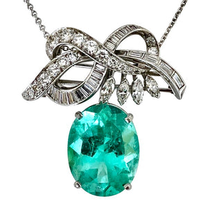 18.76 Carat Certified Colombian Emerald and Diamond Platinum Brooch Pendant