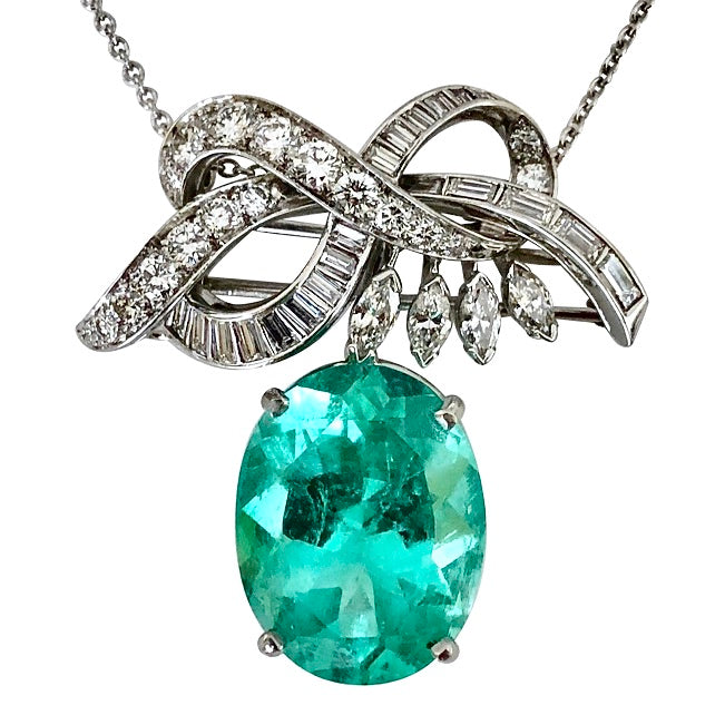 Copy of 18.76 Carat Certified Colombian Emerald and Diamond Platinum Brooch Pendant