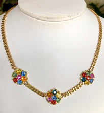 Load image into Gallery viewer, Multicolor Sapphire Flower Chain Link Necklace 18K Gold