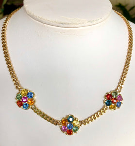 Multicolor Sapphire Flower Chain Link Necklace 18K Gold