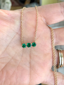 Three-Stone Round Colombian Emerald Gold Chain Pendant Necklace